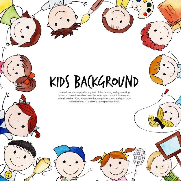 Back to school happy kids background Premium Vector