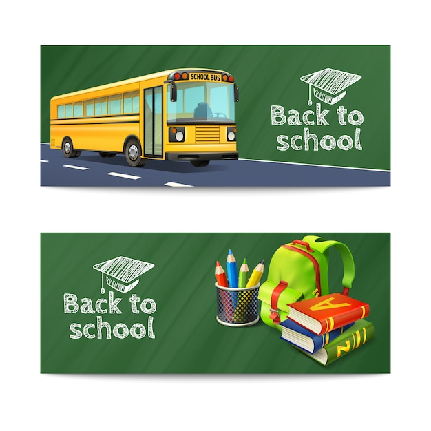 Back to school horizontal banners set with bus rucksack and books Free Vector