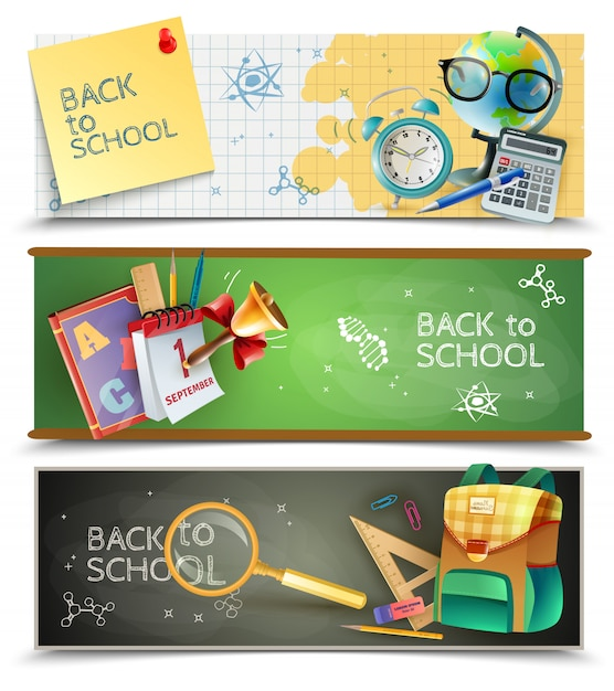 Back to school horizontal banners set Free Vector
