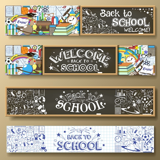 Back to school horizontal banners with doodle stationery and other school subjects. standard for web proportions. Premium Vector