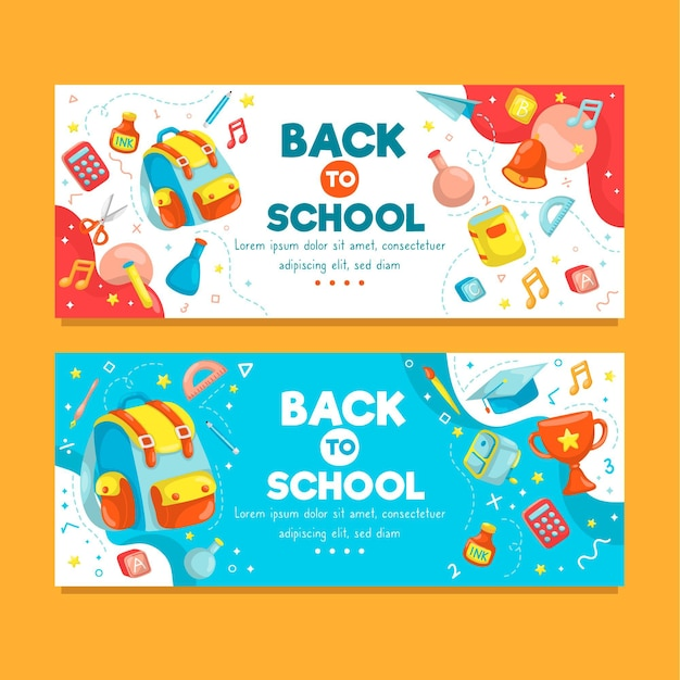 Back to school horizontal banners Free Vector