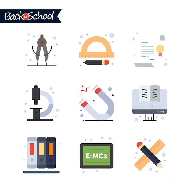 Icona di ritorno a scuola. set di icone linea istruzione e apprendimento. Vettore gratuito