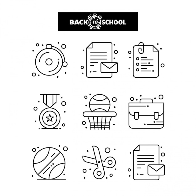 Back to school icon. education and learning line icons set. Premium Vector