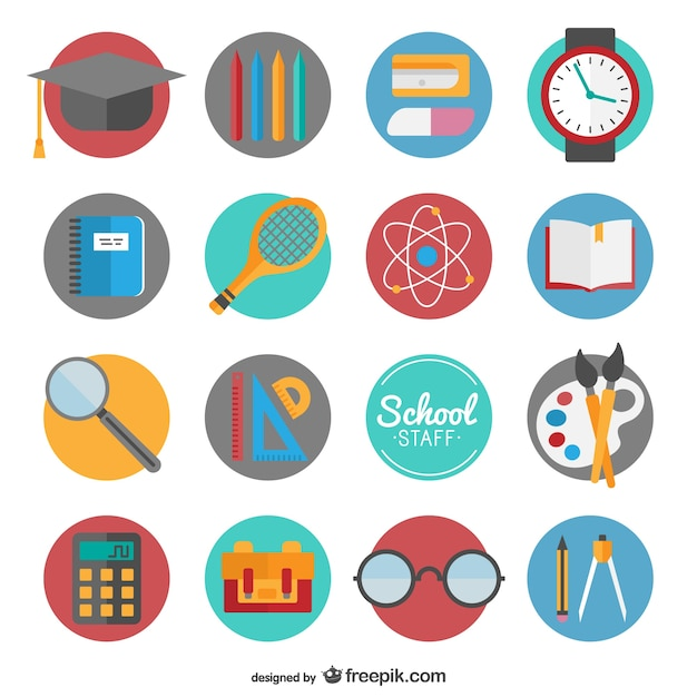 Back to school icon set Free Vector