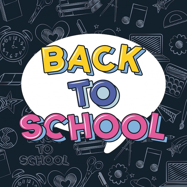 Back to school illustration over pattern with doodles Free Vector