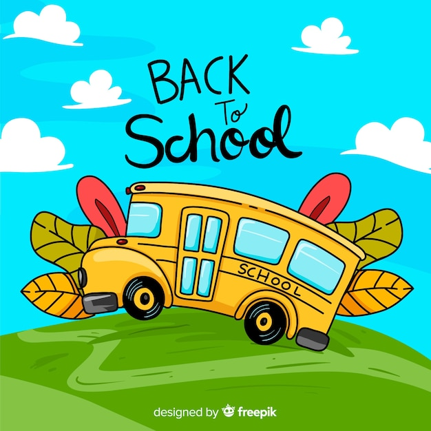 Back to school illustration of school bus Free Vector