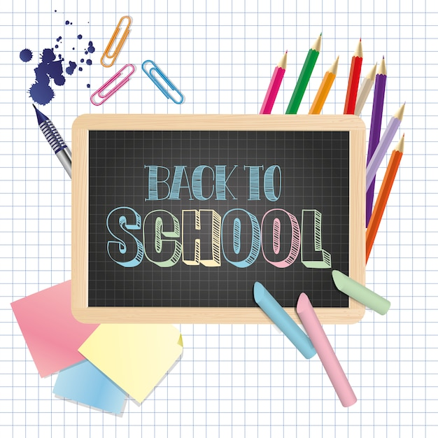 Back to school illustration Premium Vector