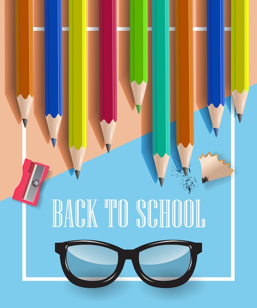 Back to school inscription in frame, glasses and pencils Free Vector