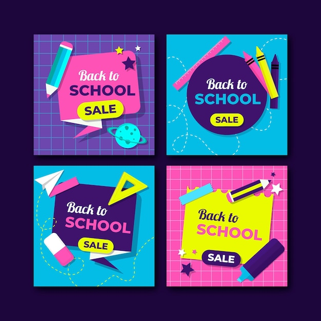 Back to school instagram posts collection Free Vector