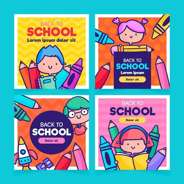 Back to school instagram posts design Free Vector