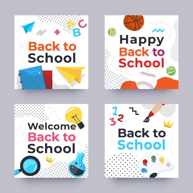 Back to school instagram posts set Free Vector