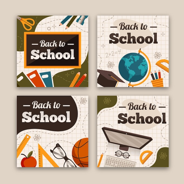 Back to school instagram posts Free Vector
