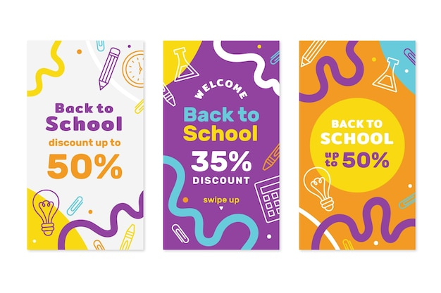 Back to school instagram stories collection Free Vector