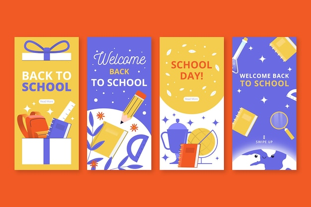 Back to school instagram stories template Free Vector