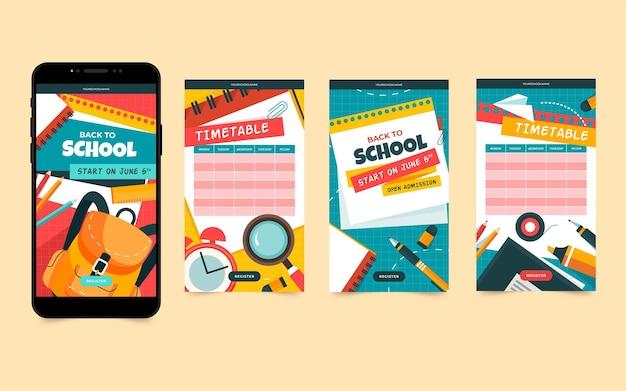 Back to school instagram stories Free Vector