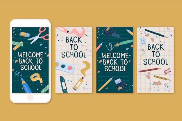 Torna alle storie di instagram a scuola Vettore gratuito
