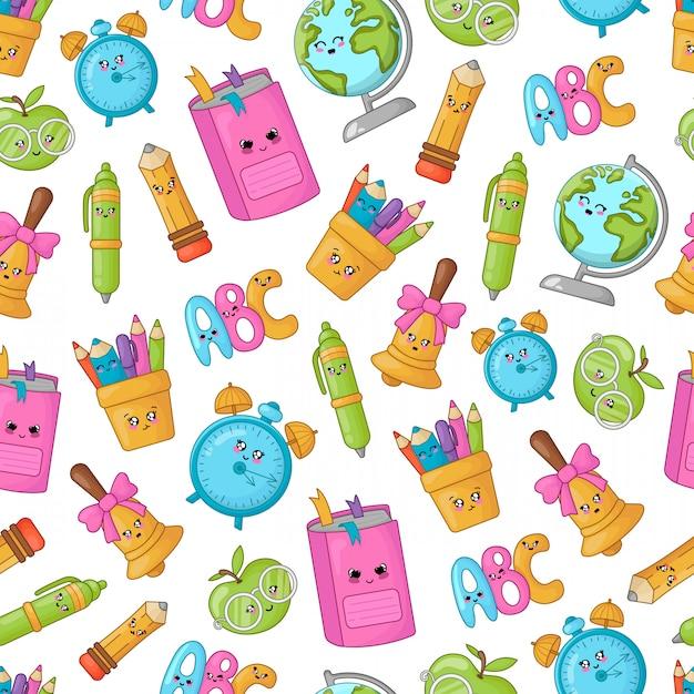 Back to school kawaii accesories pattern Premium Vector