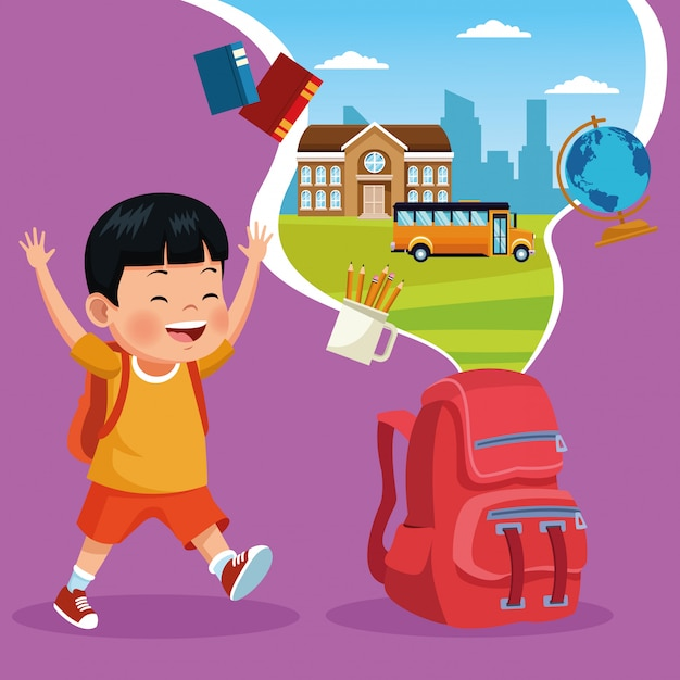 Back to school kids cartoon Free Vector