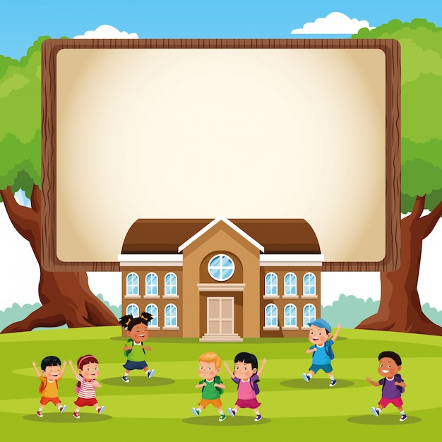 Back to school kids cartoon Free Vector