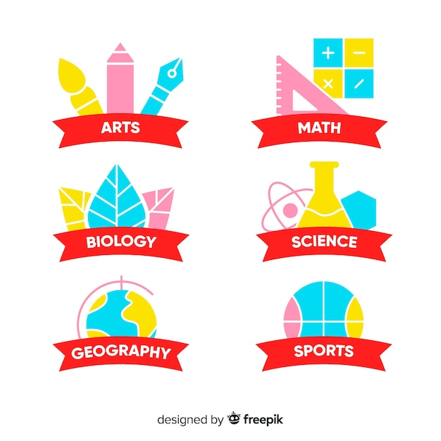 Back to school label collection Free Vector