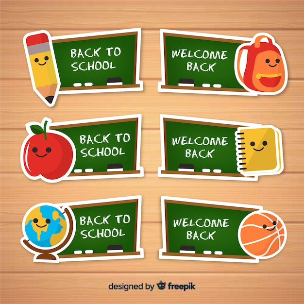 Back to school labels and badge collection Free Vector