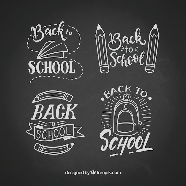 Back to school labels collection with elements Premium Vector