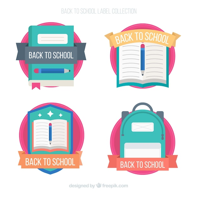 Back to school labels collection Free Vector