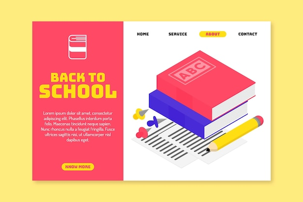 Back to school landing page concept Free Vector