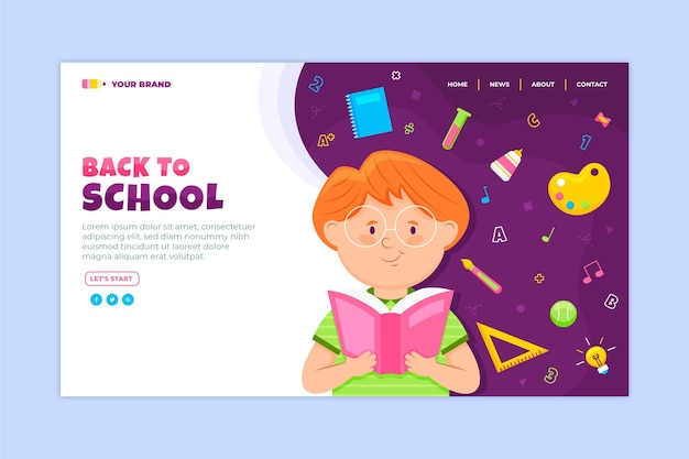 Back to school landing page concept Premium Vector