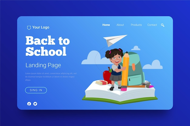 Back to school landing page design Free Vector