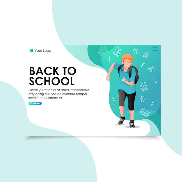 Back to school landing page illustration Premium Vector