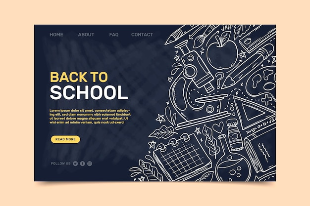Back to school landing page template with white sketches Free Vector