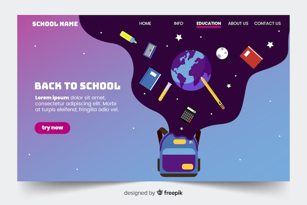 Back to school landing page template Free Vector