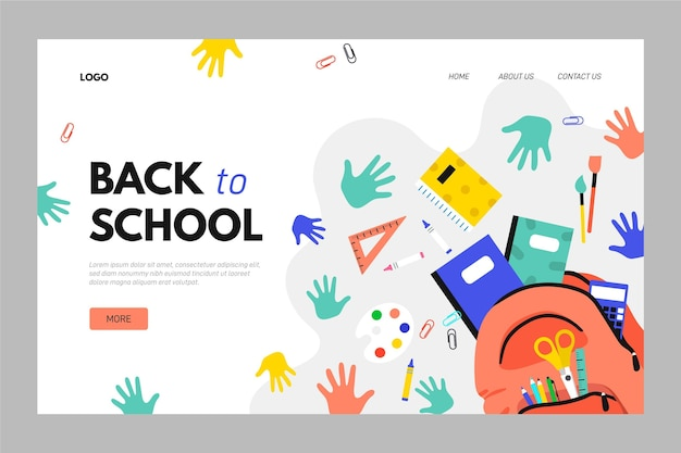 Back to school landing page template Premium Vector
