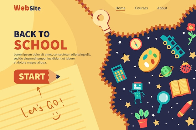 Back to school landing page web template Free Vector