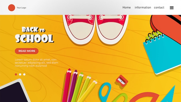 Back to school landing page with colorful elements Premium Vector