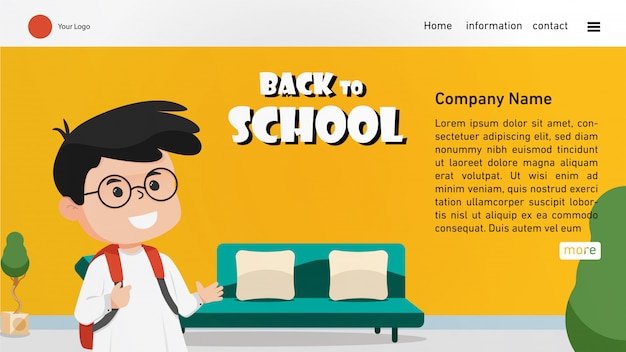 Back to school landing page with cute boy Premium Vector