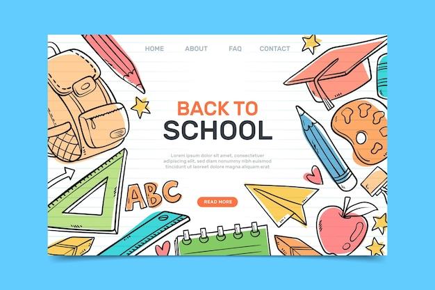 Torna alla pagina di destinazione della scuola con illustrazioni disegnate Vettore gratuito