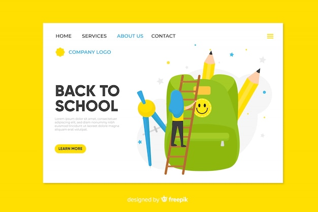 Back to school landing page Premium Vector