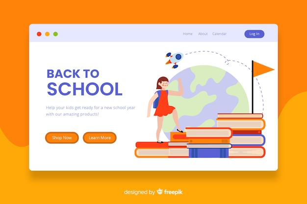 Back to school landing page Premium Vector