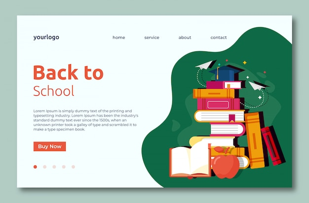 Back to school landing web template page with books Premium Vector