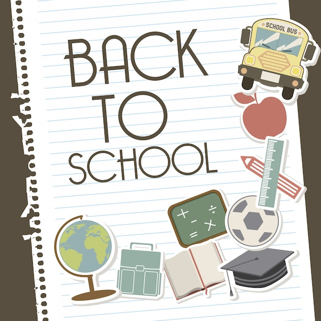 Back to school over leaves notebook background Premium Vector