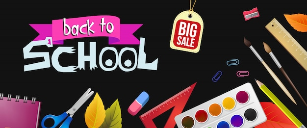Back to school lettering and big sale tag with supplies Free Vector