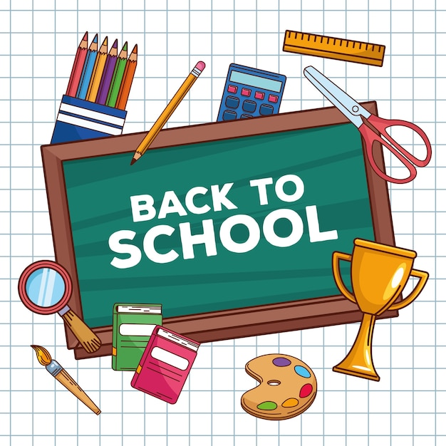 Back to school lettering in chalkboard with objects Premium Vector