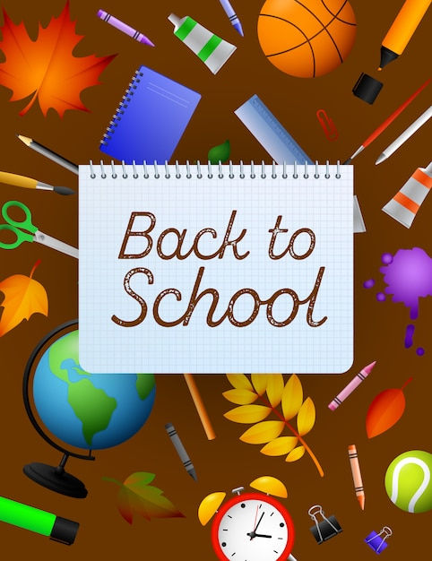 Back to school lettering on copybook paper sheet, pencils Free Vector