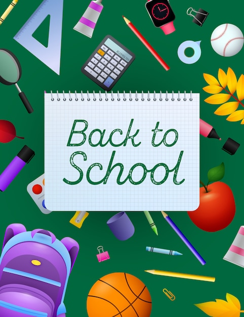 Back to school lettering on copybook paper sheet Free Vector