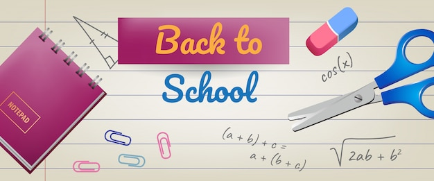 Back to school lettering on lined paper with eraser and scissors Free Vector