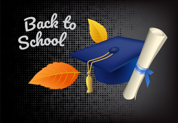 Back to school lettering with graduation cap Free Vector