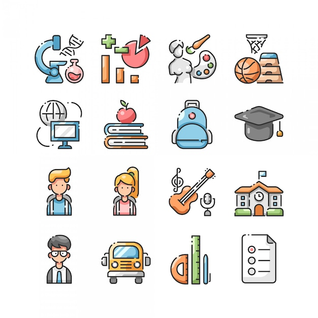 Back to school lineal color icon set Premium Vector