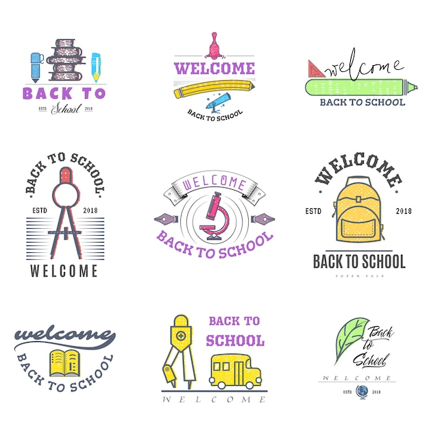 Back to school logos and badges Premium Vector